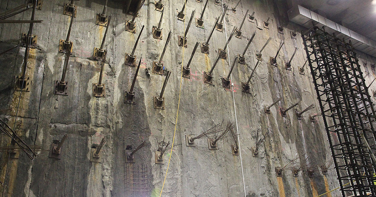 Diaphragm wall - 6 levels of basement excavated